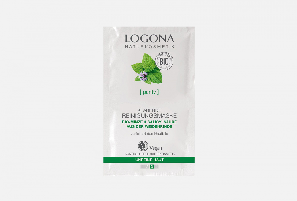 Купить Очищающая маска c Био-Мятой и Салициловой кислотой из Коры Ивы для выравнивания кожи лица, LOGONA