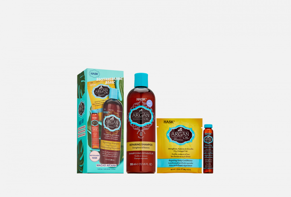 Набор для восстановления волос HASK Hask Trio- Set Argan Set For Hair Restoration hask macadamia trio set