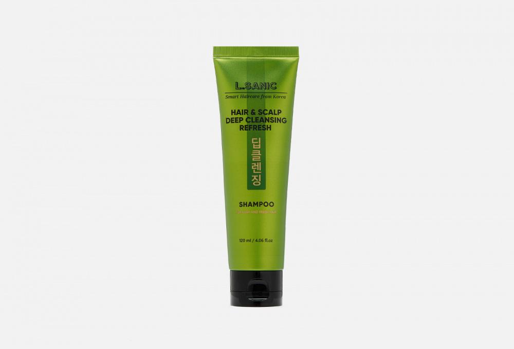 Освежающий шампунь для глубокого очищения волос и кожи головы L.SANIC Hair & Scalp Deep Cleansing Refresh Shampoo 120 мл освежающий шампунь для кожи головы hair clinic scalp care deep cleansing shampoo шампунь 180мл