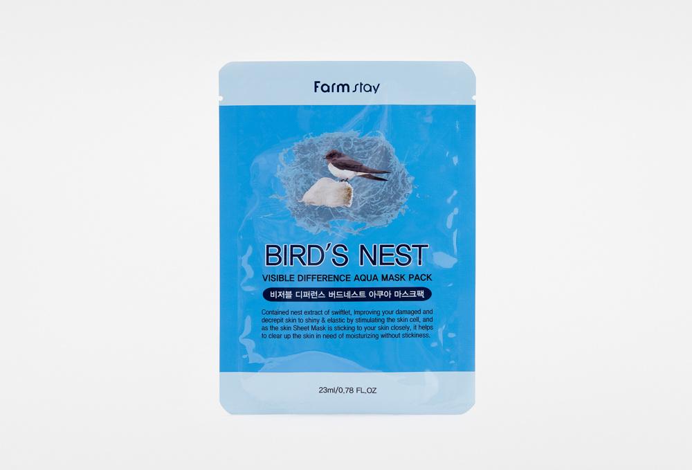 Маска для лица тканевая с экстрактом ласточкиного гнезда FARM STAY Visible Difference Birds Nest Aqua Mask Pack 1 мл