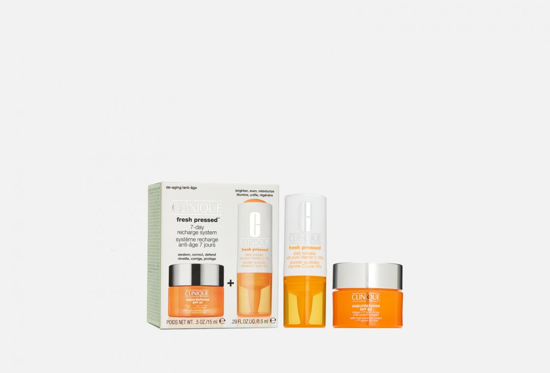 Набор для ухода для всех типов кожи Clinique Fresh Pressed 7-Day Recharge System Superdefense Gel + Fresh Pressed