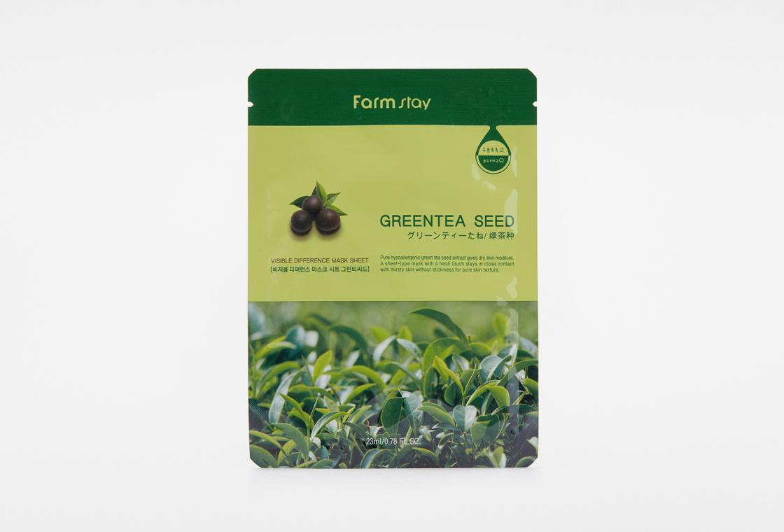 Маска для лица тканевая с экстрактом зеленого чая Farm Stay VISIBLE DIFFERENCE MASK SHEET GREEN TEA SEED