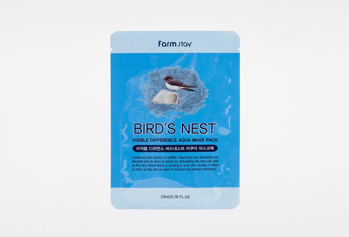 Маска для лица тканевая с экстрактом ласточкиного гнезда Farm Stay VISIBLE DIFFERENCE BIRDS NEST AQUA MASK PACK