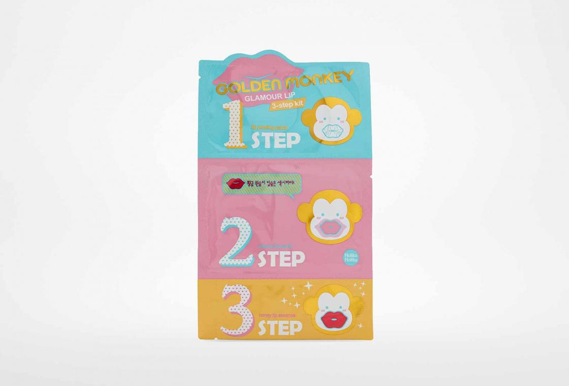 Набор средств для ухода за губами Holika Holika Golden Monkey Glamour Lip 3-Step Kit