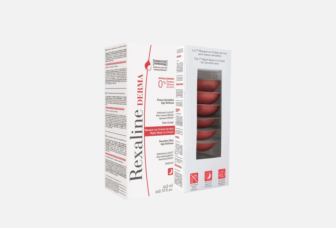 Ночная крем-маска для чувствительной кожи лица 6*3мл Rexaline Derma